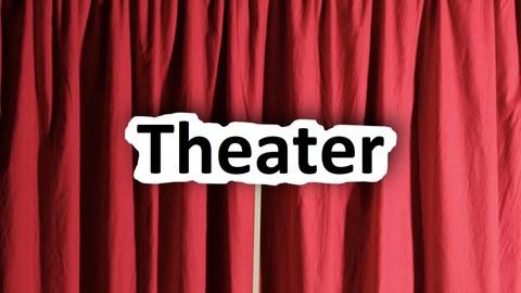 Theaterschild vor rotem Vorhang