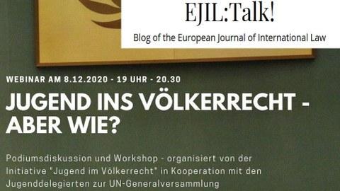 "Poster Veranstaltung ""Jugend ins Völkerrecht"" und EJIL Blog Logo"