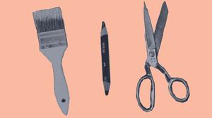 Werkzeuge Schere Pinsel Stift