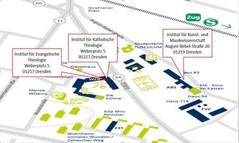 Lageplan der Institute August-Bebel Straße