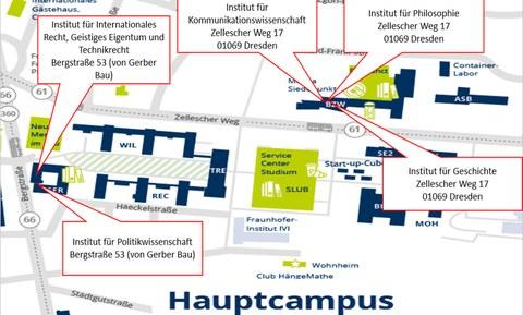 Lageplan der Institute Zellescher Weg und Bergstraße