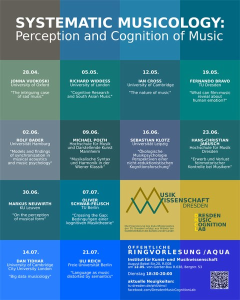"""Plakat Ringvorlesung """"Systematic Musicology: Perception and Cognition of Music"""""""