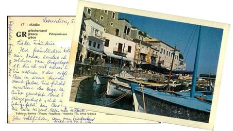 Vorder- und Rückseite einer Postkarte