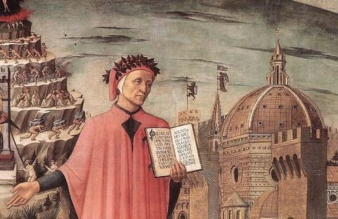 Dante zwischen dem Läuterungsberg und der Stadt Florenz, zeigt das Incipit Nel mezzo del cammin di nostra vita in einem Detail von Domenico di Michelinos Gemälde, Florenz, 1465