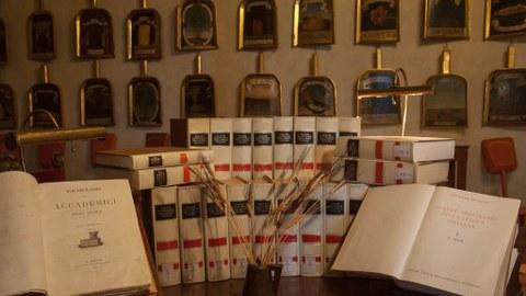 Foto von mehrbändigem Wörterbuch, Ledergebunden, einige Bände aufgeschlagen