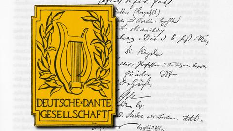 Gründungsurkunde und Wappen der Deutschen Dante-Gesellschaft