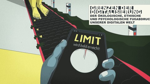 """Füße auf einer Art Autobahn, im Vordergrund ein Smartphone-Display das anzeigt: """"Limit wird bald erreicht"""""""