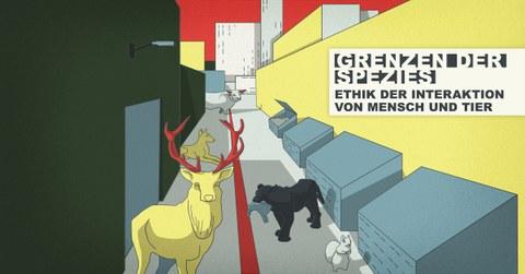 Gezeichnete Tiere in einer urbanen Gasse mit Müllcontainern.
