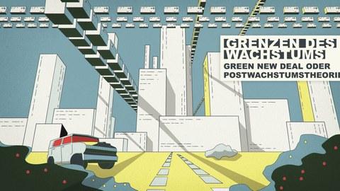 Zeichnung einer futuritischen Großstadt mit einem SUV im Vordergrund und fliegenden Kisten