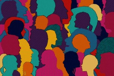 Das Bild zeigt einen Ausschnitt von Stoff mit  vielen verschiedenfarbige Silhouetten von Käpfen.