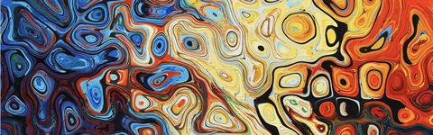 Das Bild zeigt ein Gemälde mit vielen bunten Elementen.