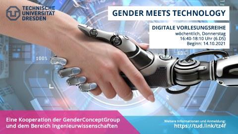 Ankündigung der Ringvorlesung Gender meets Technology, eine menschliche und künstliche Hand begegnen sich