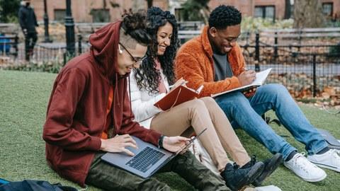 Zu sehen sind viel junge Menschen, die auf dem Gras sitzen und zusammen lernen.