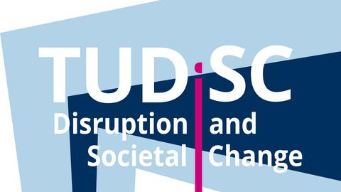 Logo: TUDiSC - im Hintergrund ein hellblauer und ein dunkelblauer Keil. Dazu der Schriftzug: Disruption and Societal Change