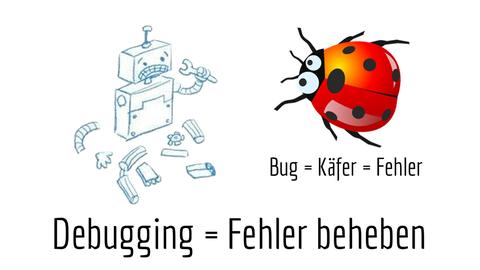 """Screenshot aus der Medienwerkstatt mit dem Titel """"Debugging = Fehler beheben"""". Neben der Zeichnung eines kaputten Roboters ist ein Marienkäfer abgebildet. Zum Marienkäfer steht der Text """"bag = Englisch für Käfer = Fehler"""""""