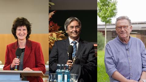 Portraits der Kuratoriumsmitglieder Eva-Maria Stange, Hans Müller-Steinhagen und Claus-Dieter Kaul als Bildmontage