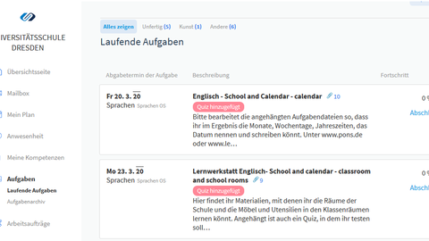 Ansicht der Oberfläche im Online-Schulportal mit Aufgaben. zum Beispiel für den Englischunterricht