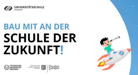 """Flyer für die Online-Aktion """"Bau mit an der Schule der Zukunft"""" auf weißem Hintergrund. Im Comicstil ist ein Junge gezeichnet. Er sitzt auf einer fliegenden Rakete und schaut durch ein Fernrohr."""