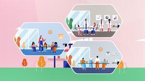 Auf einer Grafik aus dem Erklärvideosind die 3 Bereiche des Schulversuchs Universitätsschule Dresden in 3 Waben dargestellt. jede Wabe gibt Einblick in einen Raum: Schule, Forschnugsprojekt an der TU Dresden und Ort der Lehrkräfteausbildung.