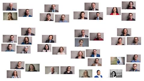 Porträtfotos der Mitarbeiter des SFB, puzzleartig nach Teilprojekten angeordnet vor weißem Hintergrund