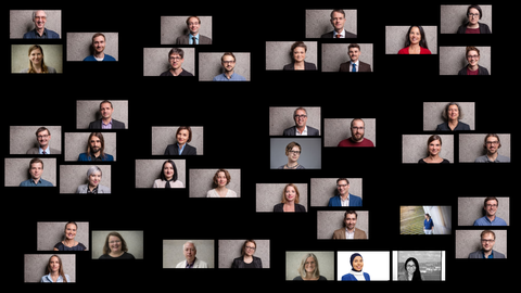 Porträtfotos der Mitarbeiter des SFB, puzzleartig nach Teilprojekten angeordnet vor schwarzem Hintergrund