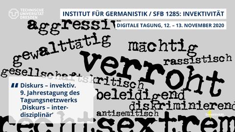 """Share Pic mit Wortwolke, schwarze Wörter auf grauem Hintergrund. Z.B. """"Verroht"""", """"rechtsextrem"""" u.a. Dazu Titel und Datum der Veranstaltung"""