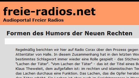 Screenshot des Online-Artikels, Überschrift: freie-radios.net, Formen des Humors der Neuen Rechten
