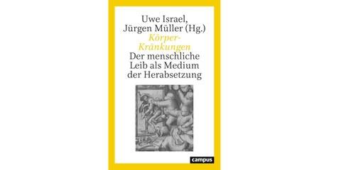 Cover des Buches Körper-Kränkungen, weiß mit gelbem Rahmen und einem Bild