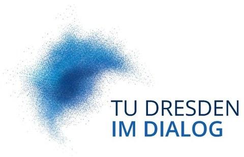 """Logo der Veranstaltungsreihe """"TU Dresden im Dialog"""", blaue Grafik mit dem Titel als Schriftzug"""