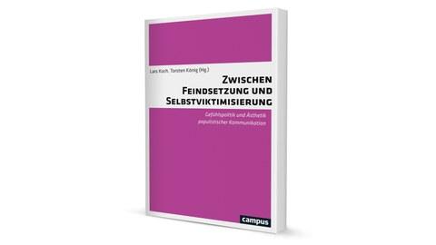 Zwischen Feindsetzung und Selbstviktimisierung Buchcover Ausschnitt, Pink mit weiß, schwarze Schrift