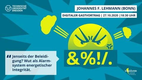 """Share Pic zum Vortrag von Johannes Lehmann. Grüntöne mit einem gelben, wütenden Emoji, das """"&%!/."""" sagt"""