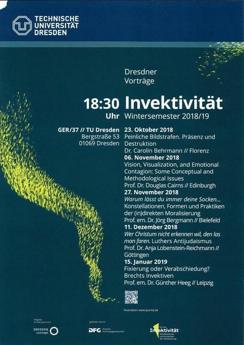 Veranstaltungsplakat, dunkelgrüner Hintergrund,weiße Schrift, gelbe abstrakte Grafik