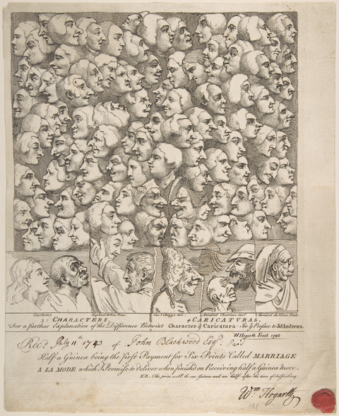 William Hogarth, Characters and Caricatures, 1743, Radierung, 23 × 20,6 cm, New York,The Metropolitan Museum of Art