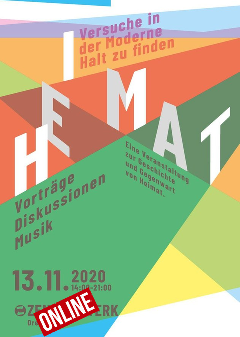 Plakat zum Workshop Heimat, buntes abstraktes Designa