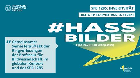 Share Pic zum Vortrag Hassbilder, grüner Hintergrund mit gelbem Smartphone, von dem ein gelber Schein ausgeht