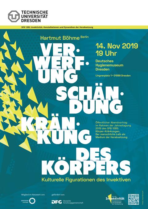 Plakat zur SFB-Jahrstagung 2019: Abendvortrag Hartmut Böhme 14.11.2019