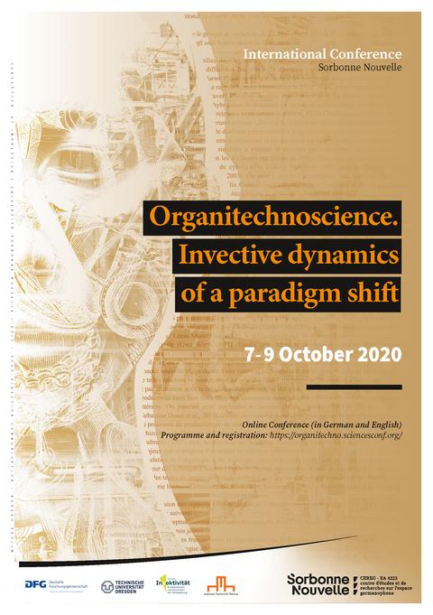 Plakat der Tagung Organitechnoscience, Brauntöne, im Hintergrund die Kontur eines Menschen