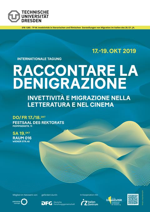 Veranstaltungsplakat für Tagung Raccontare le Denigrazione