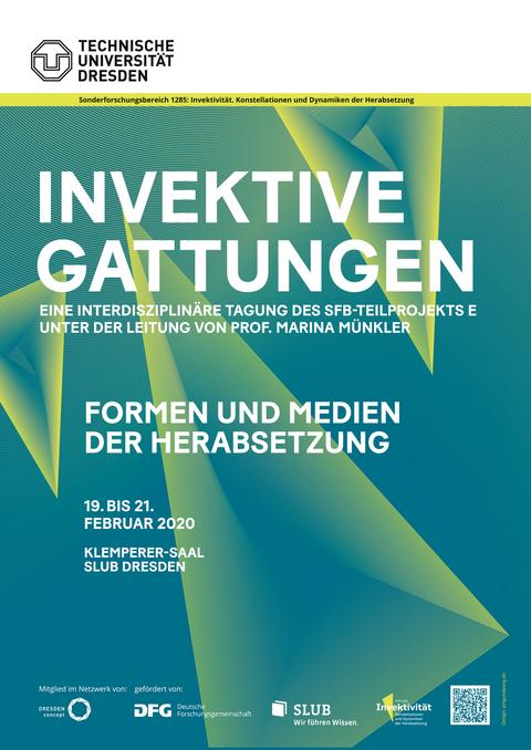 Plakat zur Tagung Invektive Gattungen, bastraktes Design, grün mit weißer Schrift
