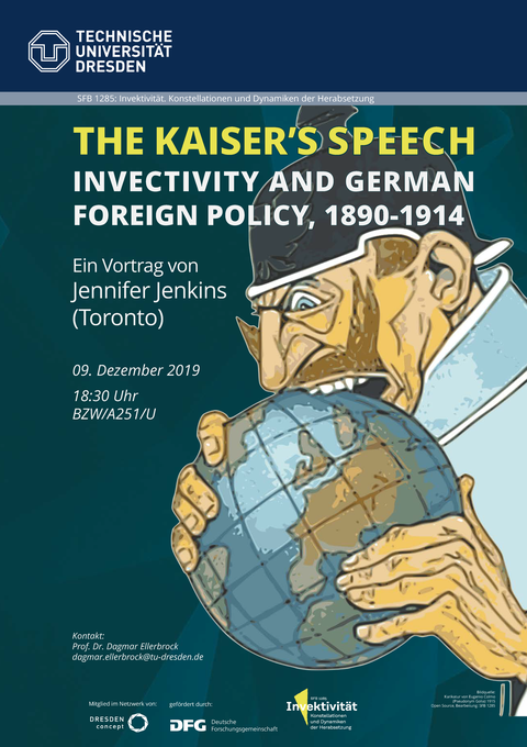 Plakat Kaiser's Speech. Karikatur Kaiser Wilhelm frisst die Welt auf