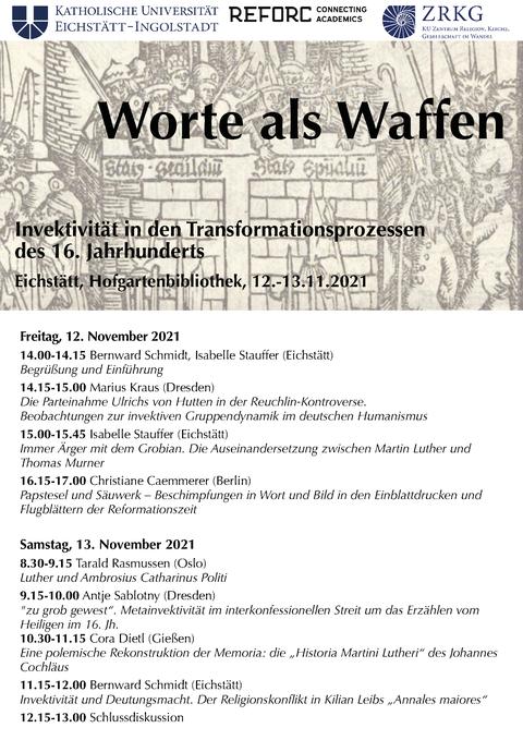 Plakat zur Veranstaltung mit dem Programm