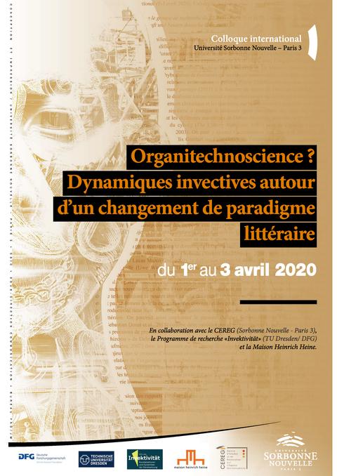 Plakat für Tagung Organitechnoscience in Paris, braunes abstraktes Design