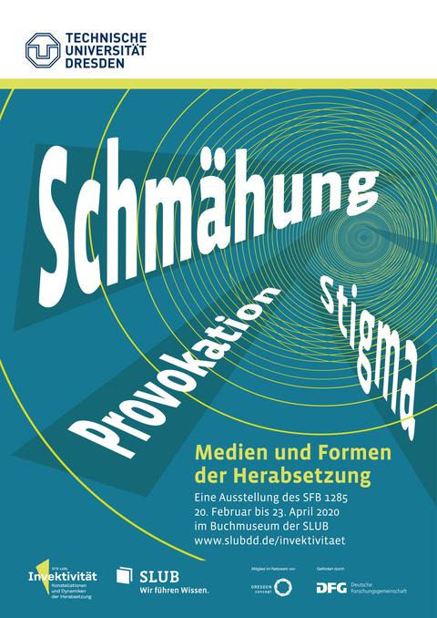 Plakat zur Ausstellung, abstraktes Design, grün mit weißer Schrift