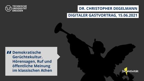 Share Pic zum Vortrag von Christopher Degelmann, schwarze Silhouette der Dresdner Skulptur Fama vor dunkelgrauem Hintergrund