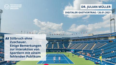 Share Pic zum Vortrag von Julian Müller, zu sehen ein Tennis-Stadion mit fast keinen Zuschauern