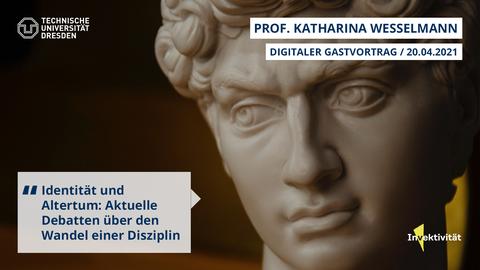 Share Pic zum Vortrag von Katharina Wesselmann über Identität und Altertum. Zu sehen ist der kopf einer antiken Skulptur, Schwerpunkt auf den Augen mit skeptischem Blick und einer gerunzelten Stirn