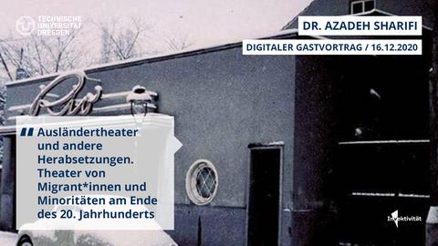 Share Pic zum Vortrag von Azadeh Sharifi, Bild von einem Auto vor einem Gebäude, ca. 60er Jahre