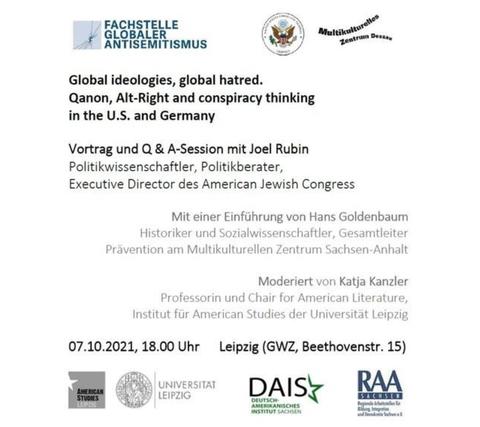 Plakat zum Vortrag, weiß mit Text und logos der beteiligten Institutionen