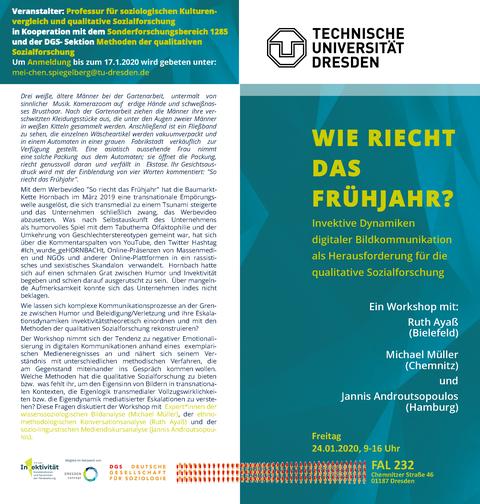Flyer zum Workshop, weiß und grün, nur text