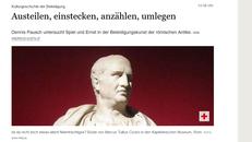 Screenshot des Online-Artikels mit der Artikelüberschrift und einem Foto einer Statue von Cicero vor rotem Hintergrund